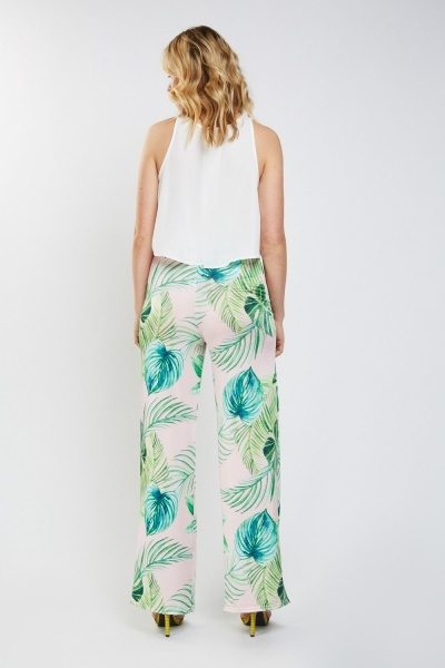 Tropical Leaf Printed Trousers