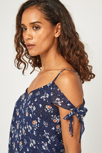 Ditsy Print Cut Out Shoulder Top