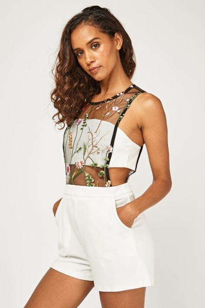 Embroidered Mesh Overlay Playsuit