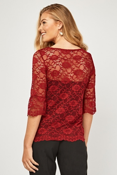 Frilly Lace Sleeve Top