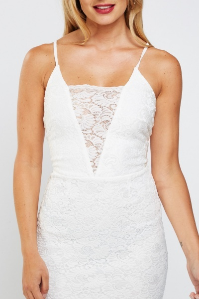 Laser Cut Lace Overlay Mini Bodycon Dress