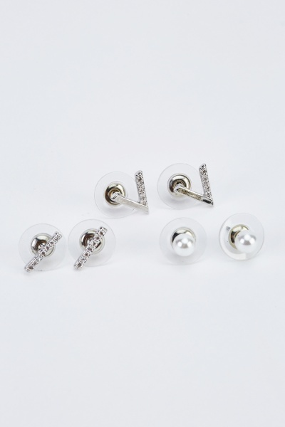 Pack Of 3 Studded Earrings
