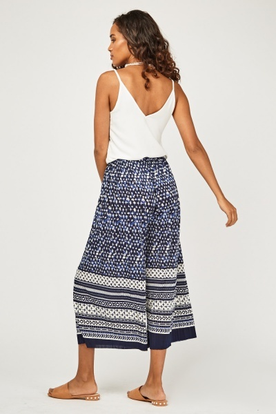 Printed Cropped Wide Leg Trousers