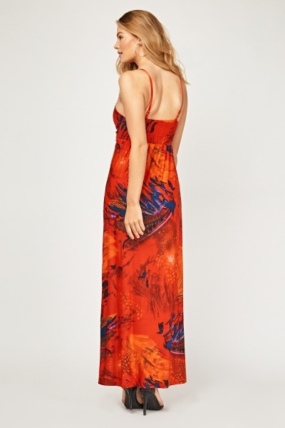 Printed Ruched Sweetheart Maxi Dress