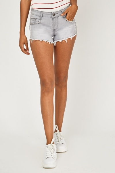 Raw Edge Denim Shorts
