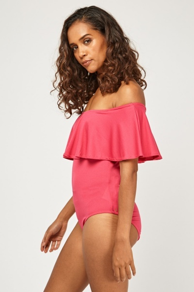 Ruffle Overlay Off Shoulder Bodysuit
