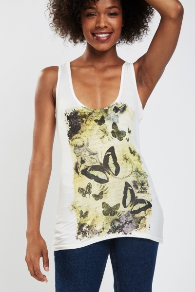 Butterfly Print Vest Top