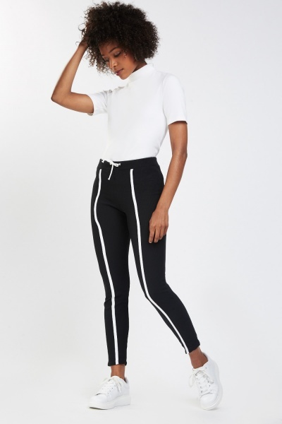 Contrasted Skinny Ribbed Leggings