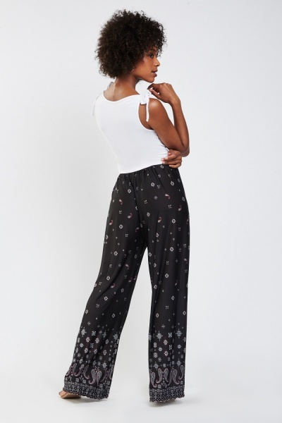 Floral Paisley Print Contrast Trousers