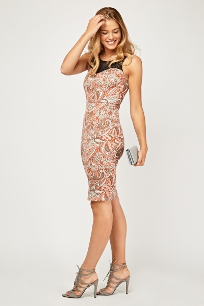 Mesh Paisley Contrast Illusion Dress