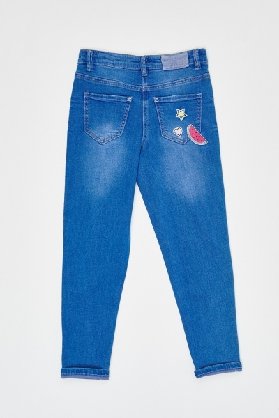 Patched Applique Straight Fit Jeans