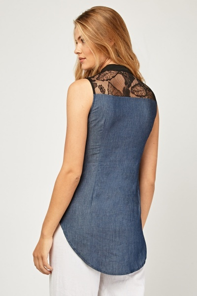Sleeveless Contrasted Lace Insert Top