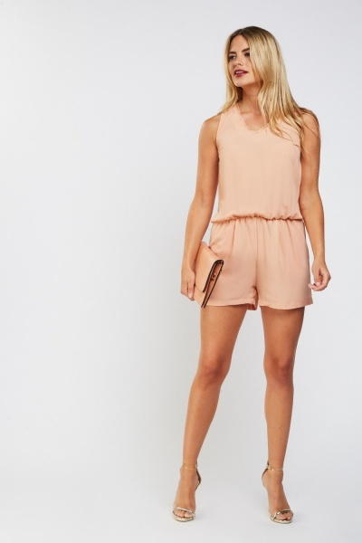 Sleeveless Lace Trim Playsuit