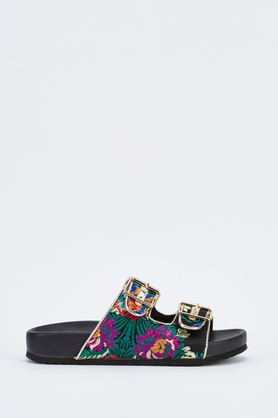 Embroidered Buckle Front Sliders
