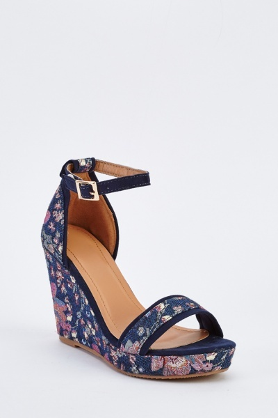 Embroidered Wedge Ankle Strap Sandals