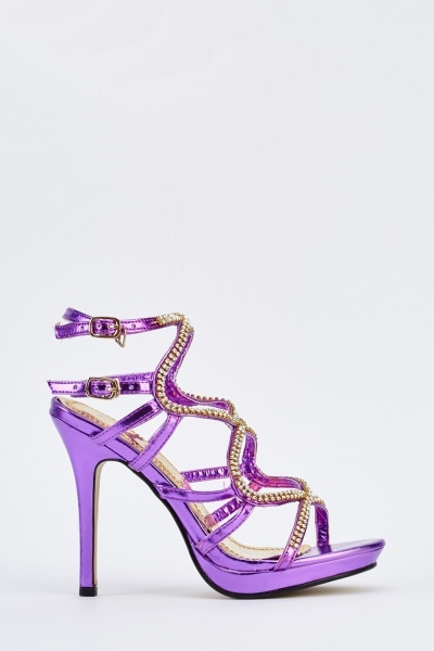 Encrusted Metallic Heeled Sandals