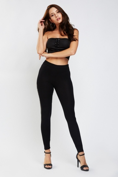 Encrusted Side Skinny Leggings