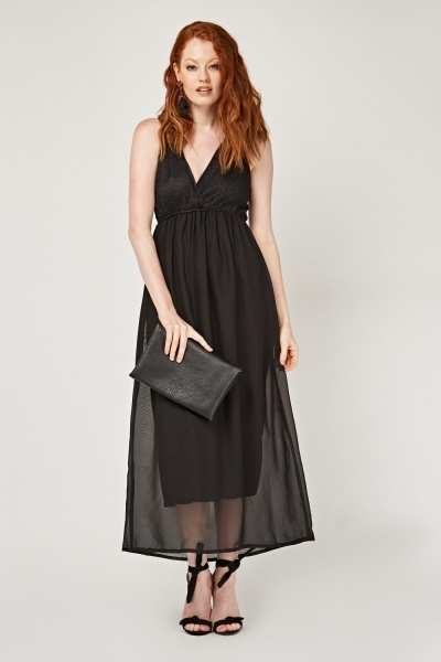 Mesh Overlay Chiffon Maxi Dress