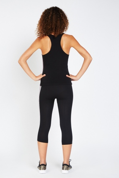 Metallic Side Sports Tank And Leggings Set