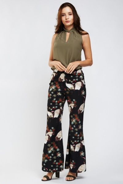 Oriental Print Flared Trousers