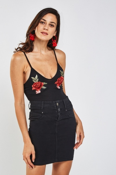Rose Embroidered Applique Ribbed bodysuit