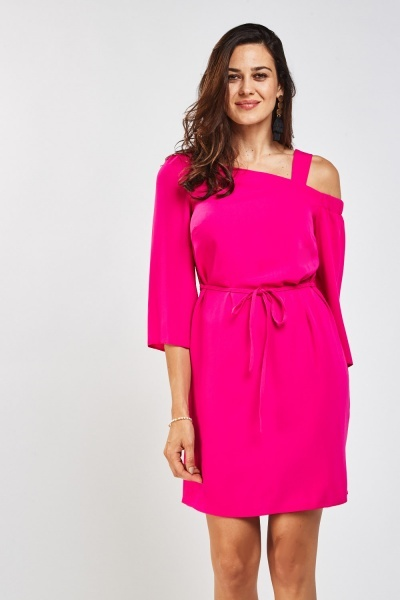 Asymmetric Chiffon Shift Dress
