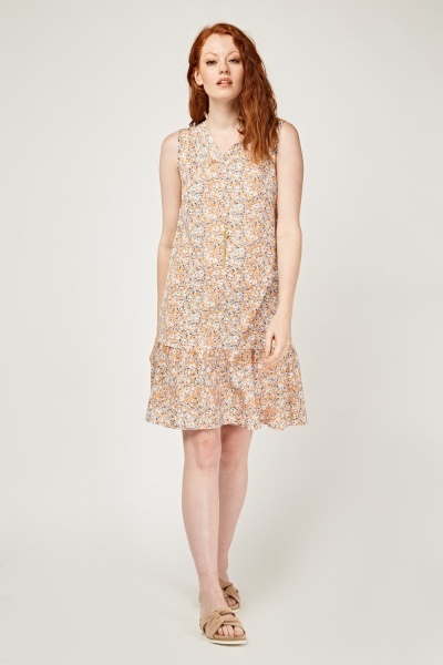 Calico Print Frilly Peplum Dress