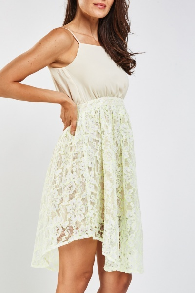 Lace Chiffon Contrasted Skater Dress