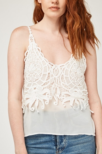 Laser Cut Crochet Overlay Cami Top
