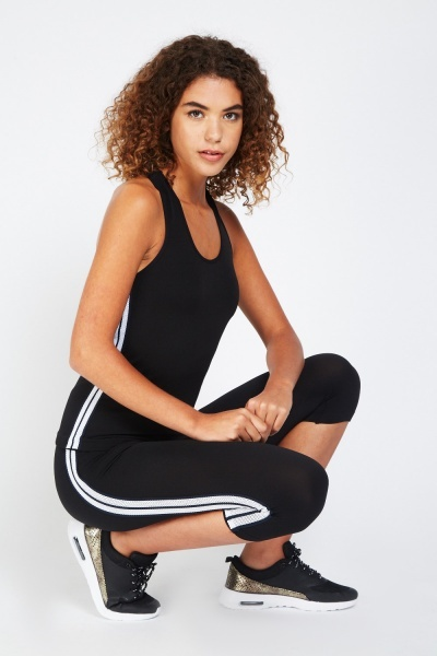 Mesh Side Sports Tank And Cropped Leggings Set