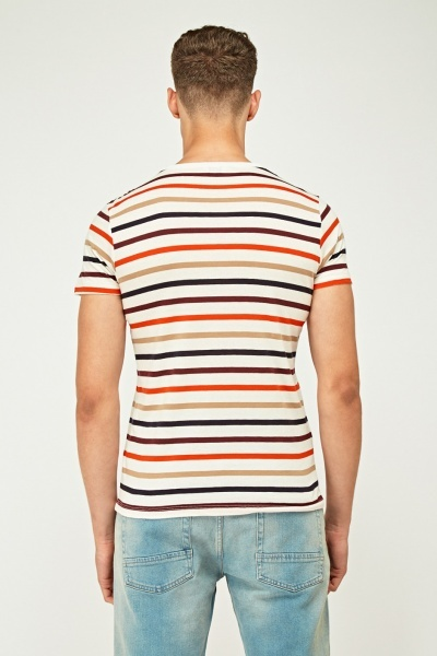 Multi Striped Round Neck T-Shirt