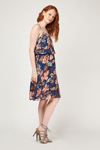 Printed Slip-On Midi Dress