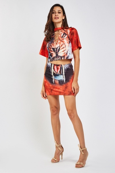 Saber-Toothed Print Top And Skirt Set