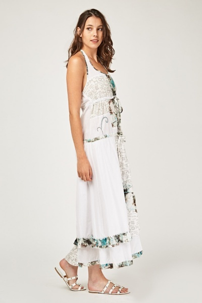 Stitched Print Contrast Maxi Dress