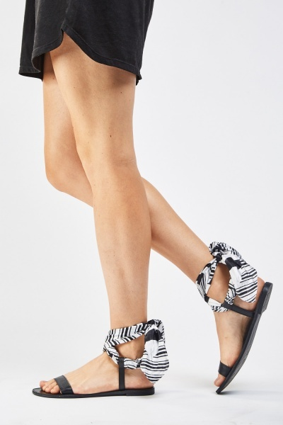 Contrasted Sateen Tie Up Sandals
