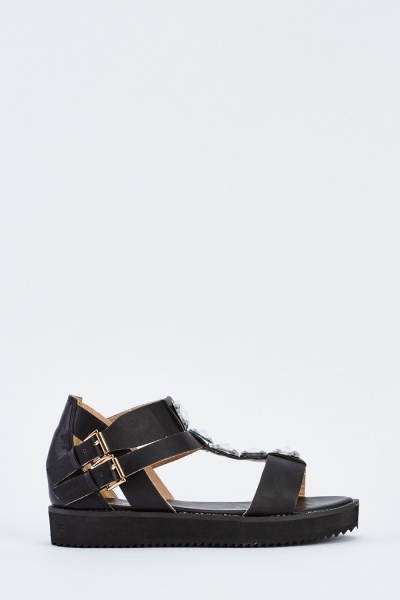 Encrusted Cut Out Gladiator Sandals