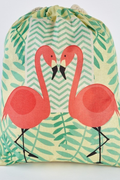 Flamingo Print Jute Drawstring Bag