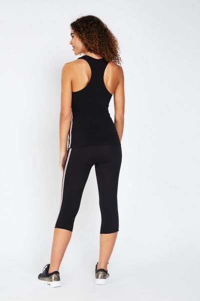 Contrast Sports Side Tank And Leggings Set