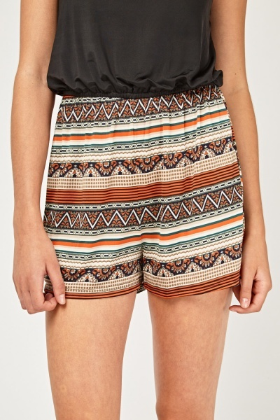 Contrasted Aztec Print Playsuit