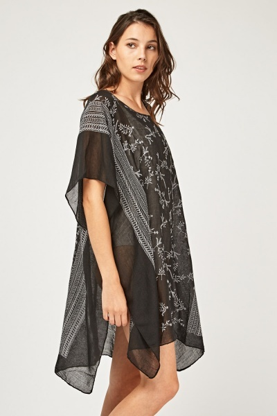 Embroidered Sheer Beach Cover Up