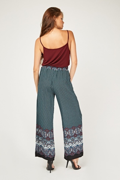 Ethnic Tile Printed Wide Leg Trousers