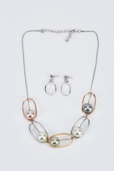 Faux Pearl Loop Necklace And Earrings Set