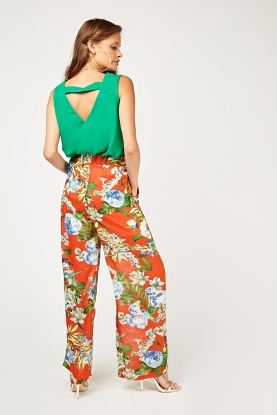 Floral Printed Sheer Trousers