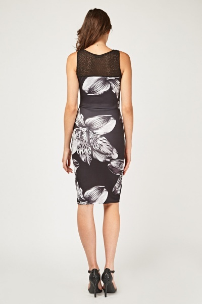 Lily Flower Printed Illusion Dress