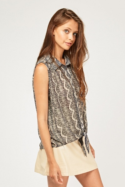 Mix Printed Sleeveless Sheer Top