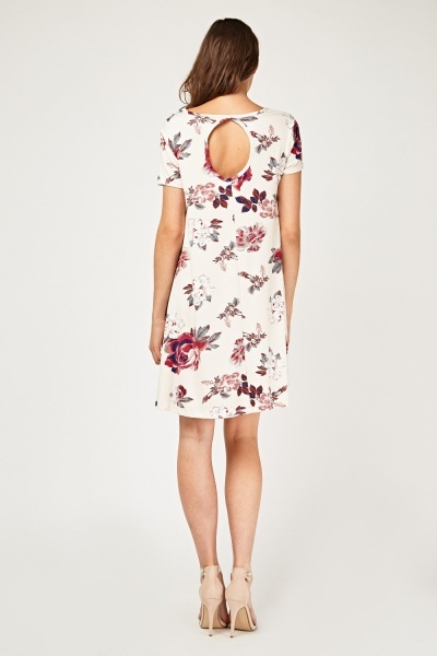 Rose Printed Flared Tunic Dress