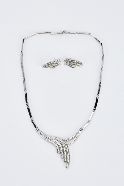 Silver Encrusted Necklace And Earrings Set