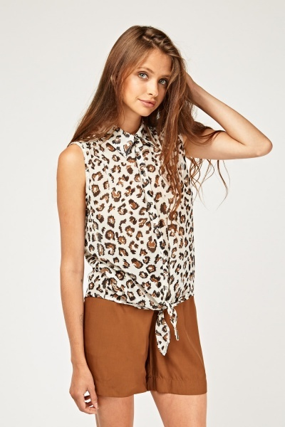 Sleeveless Sheer Cheetah Print Top