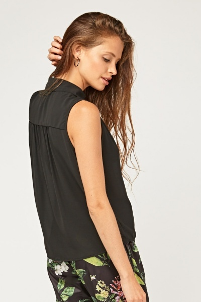 Sleeveless Sheer Chiffon Top