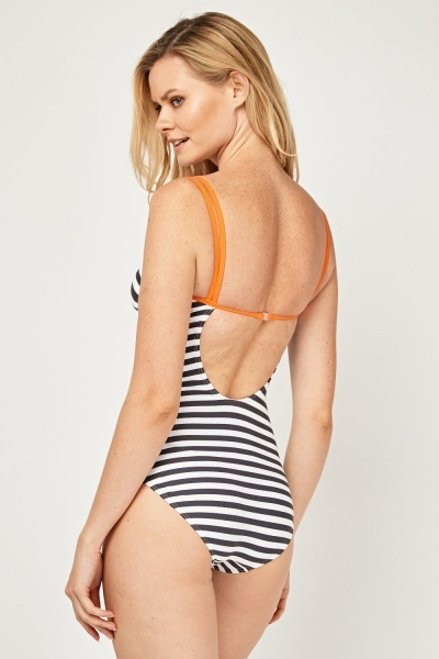 Striped Cut Out Back Swimsuit